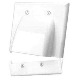 Vanco Hinged Dual-Gang Bulk Cable Wall Plate (white)