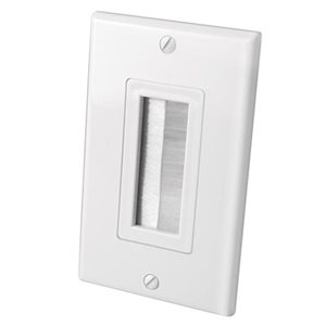 Vanco Brush Single-Gang Bulk Cable Wall Plate (white)