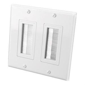 Vanco Brush Dual-Gang Bulk Cable Wall Plate (white)