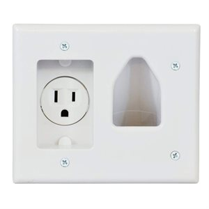 DataComm Low Voltage Cable Plate with Recessed Power (white)