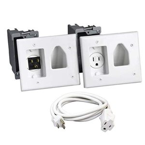 DataComm Recessed Pro-Power Kit with Straight Blade Inlet