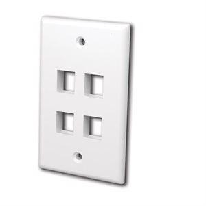 Vanco Multi-Media Keystone Wall Plates- 4 Ports (White)