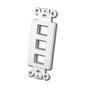 Vanco Decor Style Multi-Media Wall Plate Inserts- 3 Ports (White)