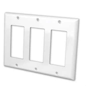 Vanco Decor Style Face Plates- Triple (White)