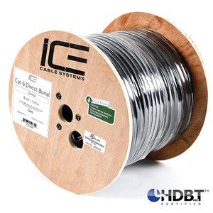 ICE Cat6 HDBaseT Solid Direct Burial w / Gel 1000' spool black