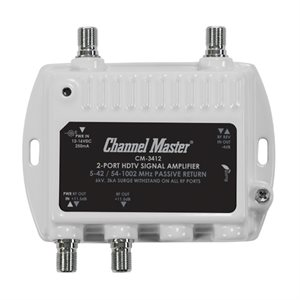 Channel Master 2-Way Dist Amp 11.5dB 50–1000MHz w / ReturnPat