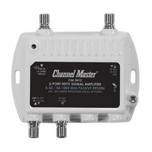 Channel Master 2-Way Dist Amp 11.5dB 50-1000MHz w / ReturnPat