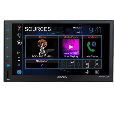 "Jensen 6.8"" Capacitive Touchscreen LCD Mechless NAV Multimedia Receiver"