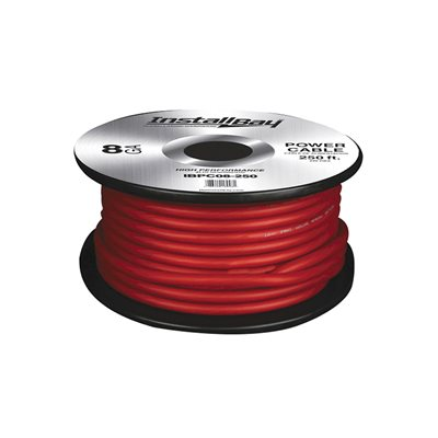 Install Bay 8 ga Power Cable 250' Spool (red)