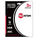 Red Atom 3' High-Speed HDMI 4K Cable with Ethernet
