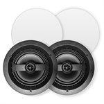 "VSSL 6 Zone Audio Streamer w /  6 RedAtom 6.5"" Round 1-Way In-Ceiling Speaker(pair)"