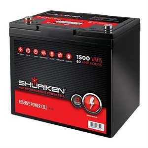 Shuriken 1,500W 60 Amp Hours Compact Size AGM 12V Battery