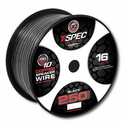 T-Spec v10 16 ga Speaker Wire 250' Spool (black)