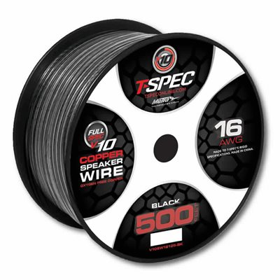 T-Spec v10 16 ga Speaker Wire 500' Spool (black)