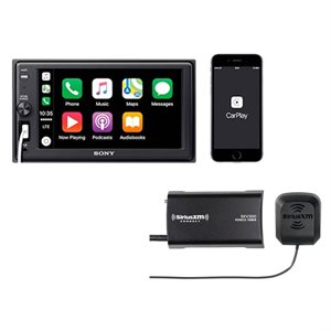 """Sony 6.2"""" CarPlay Mechless A / V Center and SiriusXM Tuner Package"""